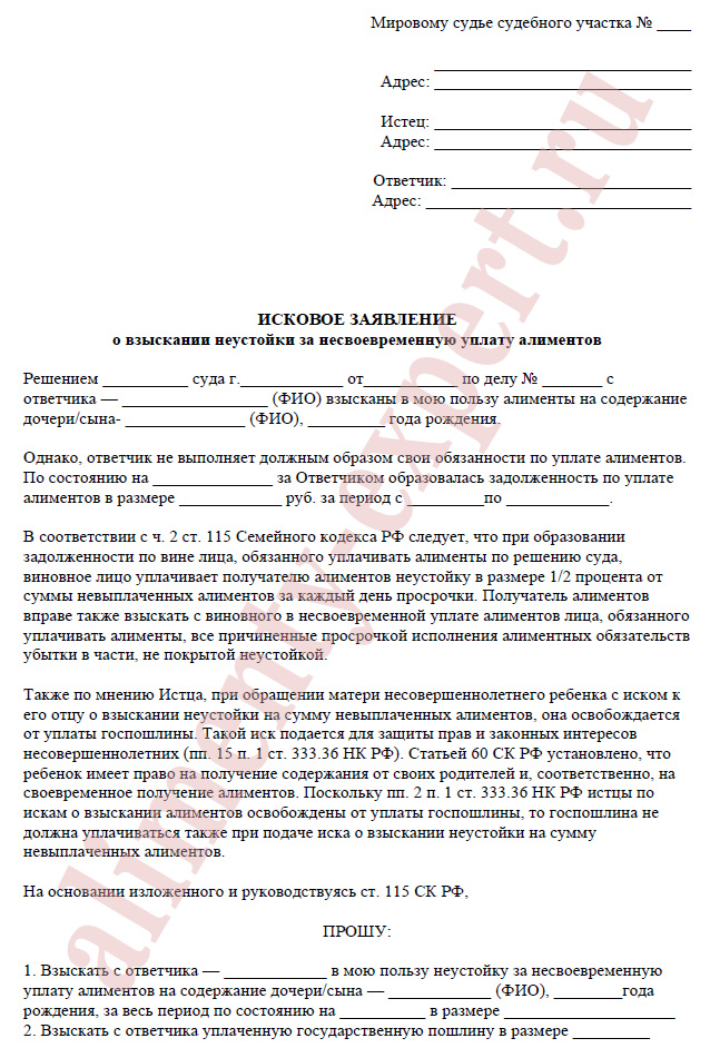 Заявление о взыскании алиментов